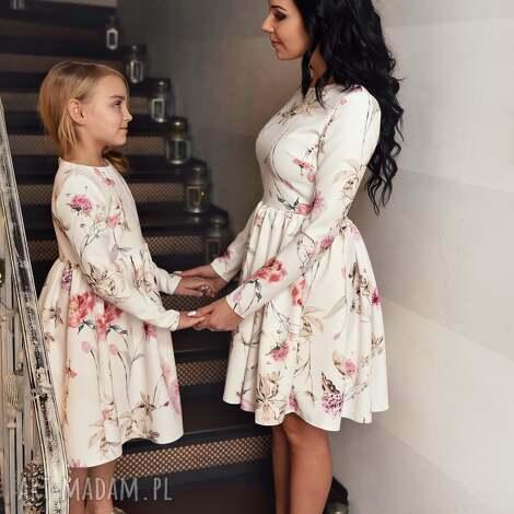 sukienki latori - sukienka damska z kolekcji mama i córka dla mamy lm40/2 kwiaty