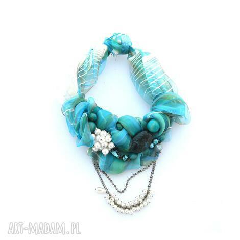 lazurowe wybrzeŻe naszyjnik handmade - naszyjnik, kolia, kolorowy, niebieski, lazur