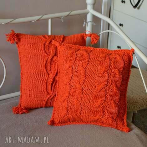 poduszki dziergana poszewka, poduszka, pomarańczowa, wełniana, dom