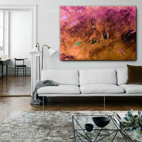 c6639b5c9ca256 stylowe obrazy do salonu - pastelowy zachod - pastelowe kolory,  abstrakcyjny obraz, modny