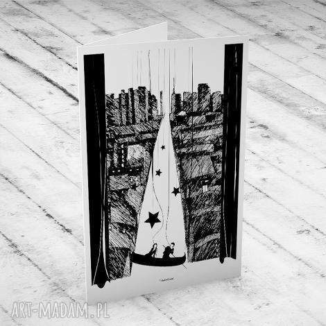 kartki ponad miastem zawieszeni ślubna karteczka, ślub, kartka, okolicznościowe