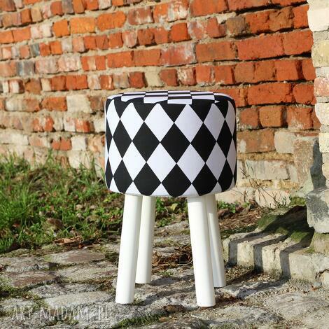 pufa arlekin 2 - białe nogi 45 cm, puf, taboret, hocker, vintage, stołek, ryczka
