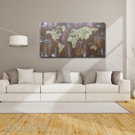 obraz ręcznie malowany mapa świata 3d - 17 -152x84cm, mapa, świata, brązowa, brąz