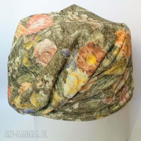 czapka materiałowa wzorzysta wiosna jesień - czapka, etno, boho, kwiaty, sport