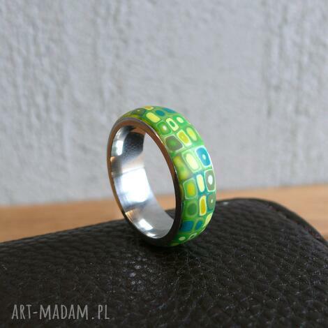 wiosenna obrączka - pierścionek, zielony, geometryczne, wzorzyste stal