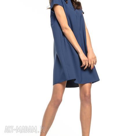 sukienka z kontrafałdą na plecach, t261, granatowy - sukienka, prosta