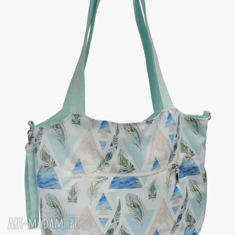 torba shopper z mocowanim do wózka trójkąty piórami, shopperka