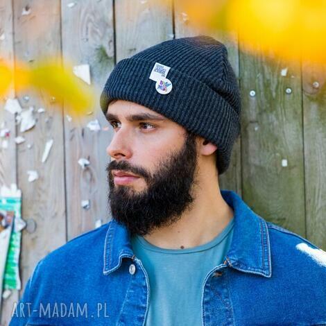 wywijana dwustronna logo kolorowe cool gray, czapka ciepła, czapka męska,
