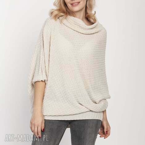 luźny sweter, swe205 beż mkm, luźny, golf, jesień, do pracy, doszkoły, beige