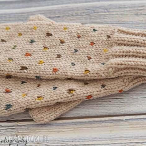 rękawiczki w kolorowe plamki, walentynki, prezent, jednopalczaste, wełniane