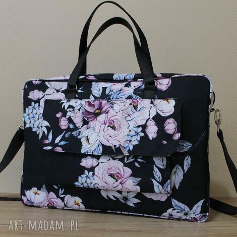 torba na laptop z kieszonką - warkocze kwiatów, elegancka, pakowna