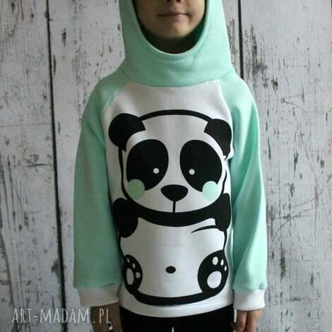 bluza z kapturem - panda mięta 122-140 , bluza, bluzeczk, bluzka, kaptur