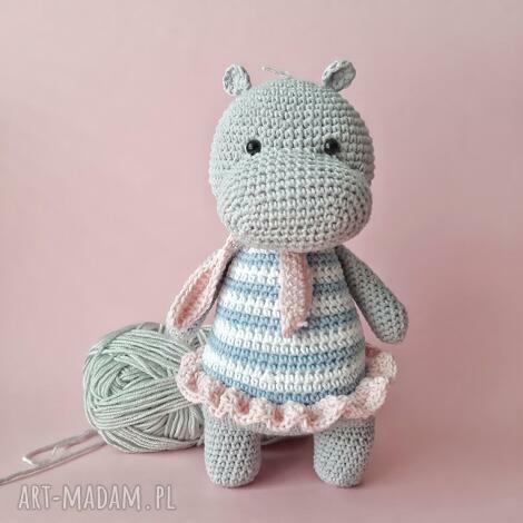 maskotka szydełkowa hipopotam w sukience, maskotka, dla dzieci, oryginalny