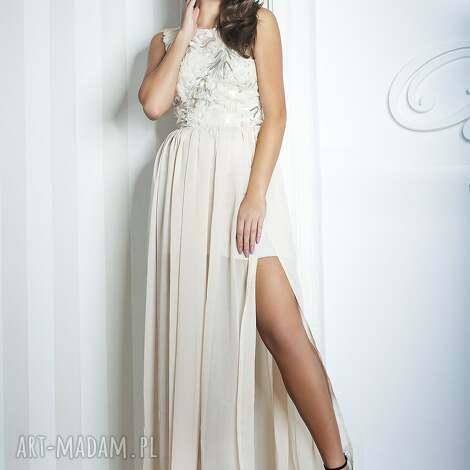 sukienki sukienka melani długa beżowa, koronka, cekiny, szyfon, maxi, długa, wesele