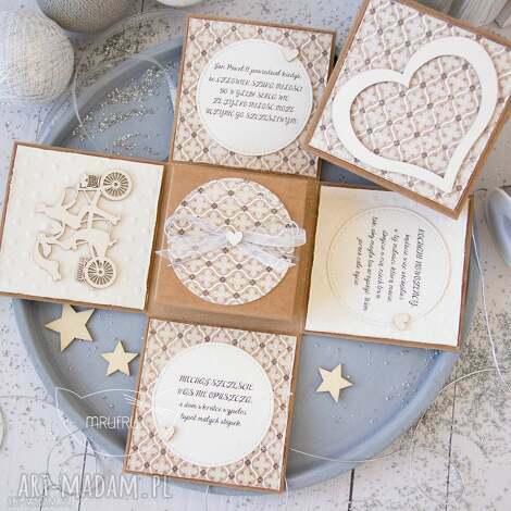 kartki eksplodujące pudełeczko ślubne pamiątka dla nowożeńców personalizacja