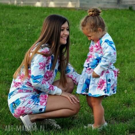 bluzy dla mamy i córki wzór koliber, bluzy, dlamamyicórki, komplet, kwiaty, koliber