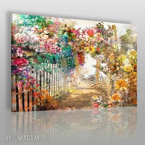 obraz na płótnie - kwiaty ogród aleja 120x80 cm 79501, kwiaty, ogród, aleja, płot