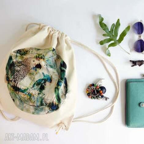 follow your nature plecak / worek torba - płócienna, eco, bawełna, ptak, wakacje