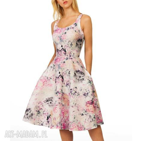 sukienka liza midi lavinia róż żakard, kieszenie, midi, róż, kwiaty, ramiączka