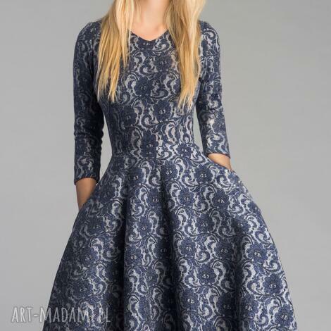 sukienka fler midi tamara, sukienka, granat, koronka, mięciutka, koło, kieszenie