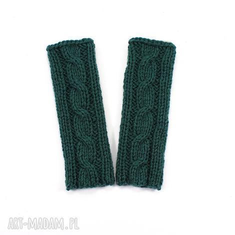 RekaProduction - mitenki z warkoczem dziergane ręcznie zieleń butelkowa, warkocz rękawiczki