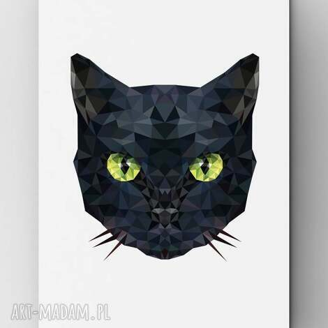 kot - plakat, kot, grafika, czarny, dom, wnętrze