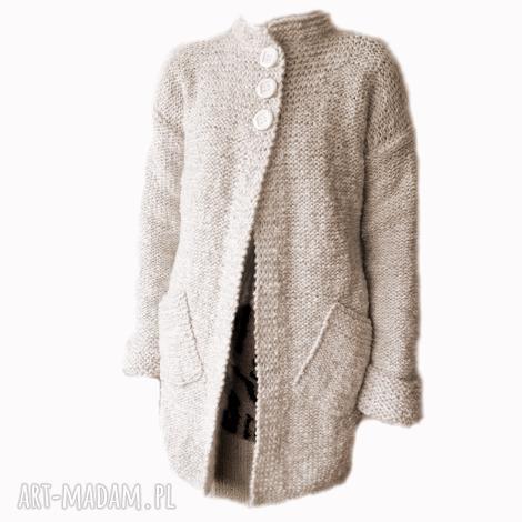 swetry prosty, elegancki sweter handmade, robiony na drutach /3/, sweter, żakiet
