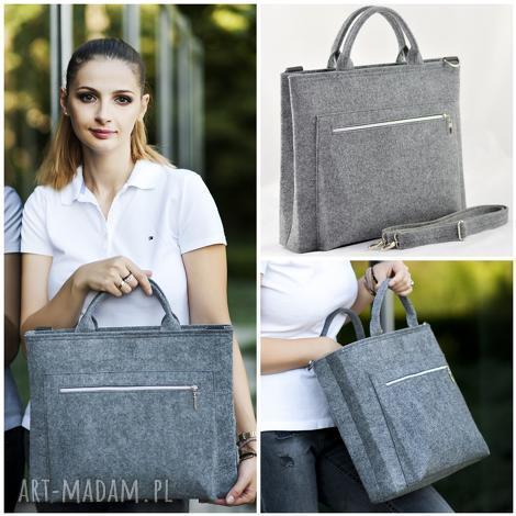 torba na laptopa - szara minimalizm, laptop, torba, pojemna, dokumenty, filc