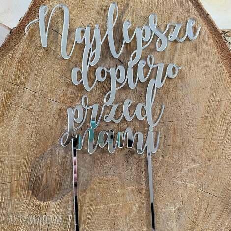 ślubny topper srebrny z lustrzanej plexi, na ślub