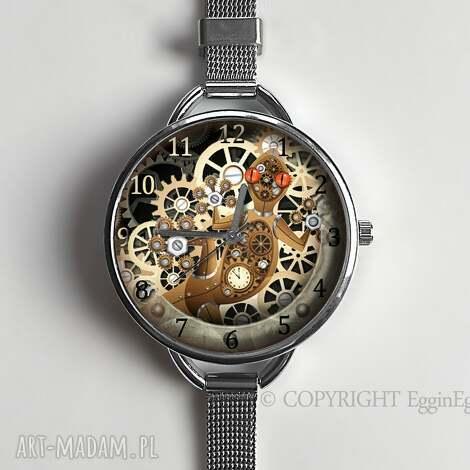 zegarki mechaniczna jaszczurka - zegarek z dużą tarczką 0957ws, zegarek, steampunk