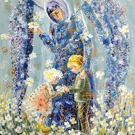 anioł stróż dzieci 100x80cm, 4mara, marinaczajkowska, obrazy, anioł, dzieci, prezent