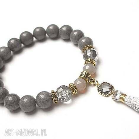 chwościk -grey /22 09 16/, jadeity, kryształki, chwost biżuteria