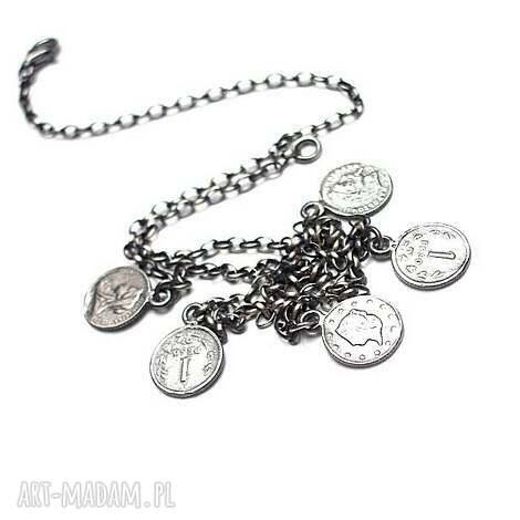 numizmaty choker - naszyjnik, monety krótki