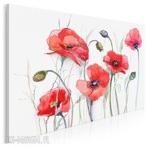 obraz na płótnie - maki kwiaty 120x80 cm 14301, maki, kwiaty, rośliny, łąka