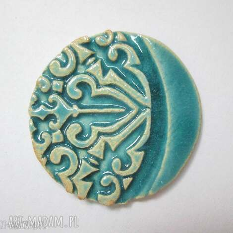 broszka turkus - ceramiczna, turkusowa