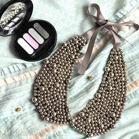 kołnierzyk wiązany naszyjnik silver moon - perły, kołnierzyk, elegancki