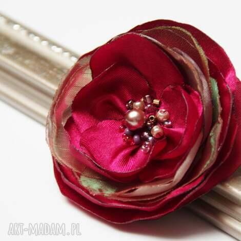 elegancka broszka kwiatek przypinka, broszki tekstylne, upominek - broszka, broszki