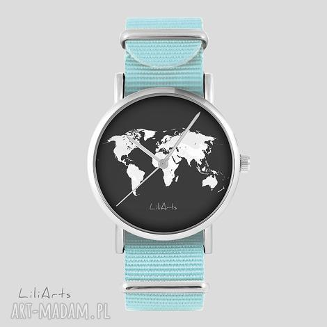 zegarki zegarek, bransoletka - mapa świata niebieski, nato, zegarek