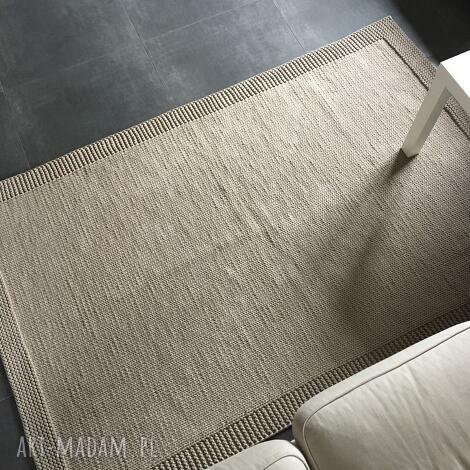 dywan ze sznurka bawełnianego beżowy 125x200 cm, dywan, chodnik, sznurek, knitting