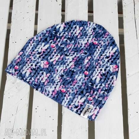 GoDeco: czapka sweterkowa, prezent dziecko, niemowlę różowa zima