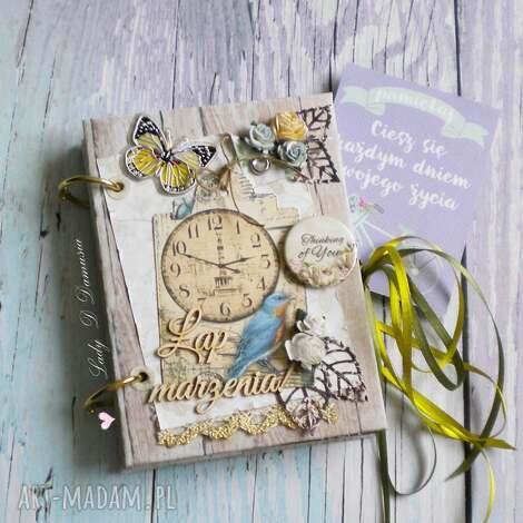 stylowy notes/ łap marzenia, zapiski, sekretnik, stylowy, motyl, zegar, pamiętnik