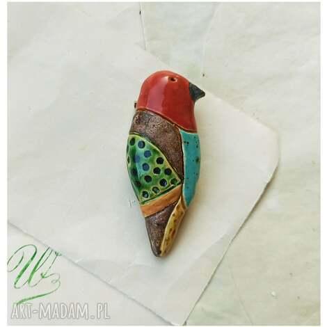 broszka barwny ptak 2, ceramika