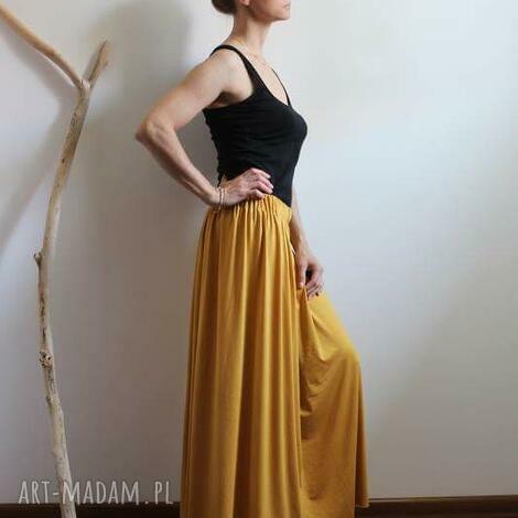 długa zwiewna lejąca się spódnica boho musztardowa, spódnica, letnia, wiskoza