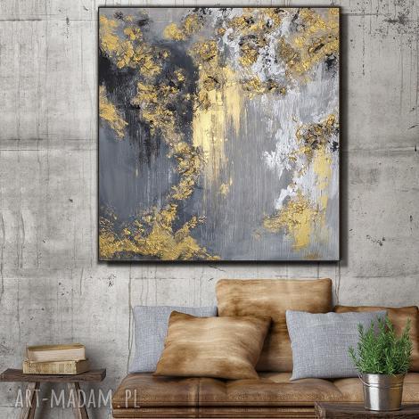 - kopalnia złota obraz do salonu ręcznie malowany - abstrakcyjny prezent