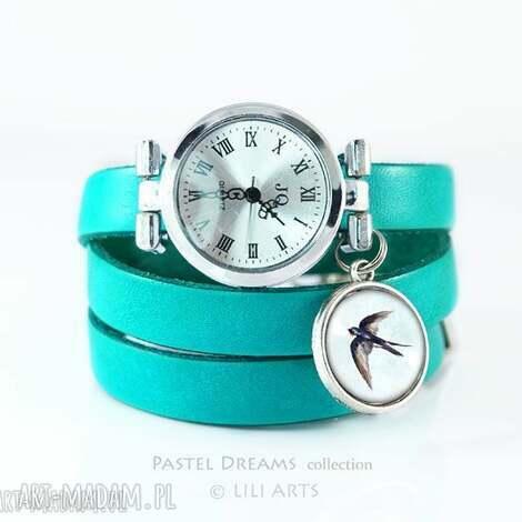 zegarek, bransoletka - jaskółka turkusowy, skórzany
