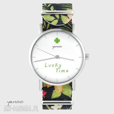 yenoo zegarek - lucky time kwiaty, nato, zegarek, bransoletka, nato