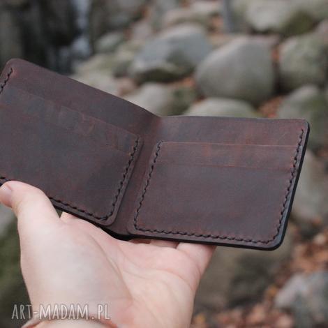 portfele ręcznie obiony personalizowany portfel skórzany, crazy horse