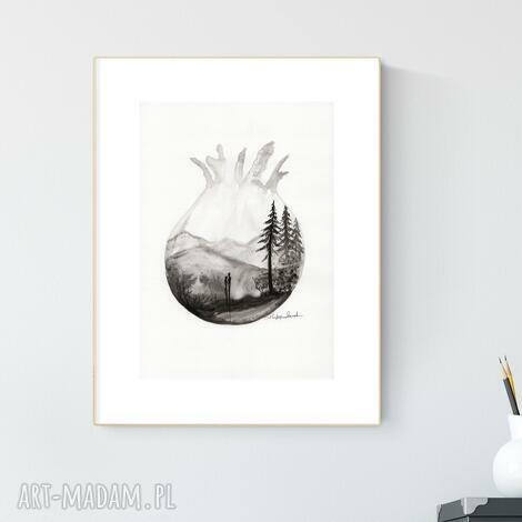 plakaty grafika a4 wykonana ręcznie, abstrakcja, obraz do salonu