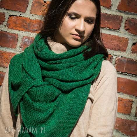 ciepły zielony szal - ciepły szal, damski szalik, z wełny, wełniany