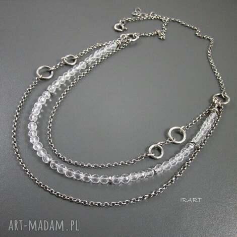 naszyjnik z kryształu górskiego - kryształ, srebro